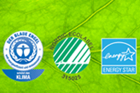 Environmentally friendly eco label - German Blue Angel, Nordic Swan, Energy Star