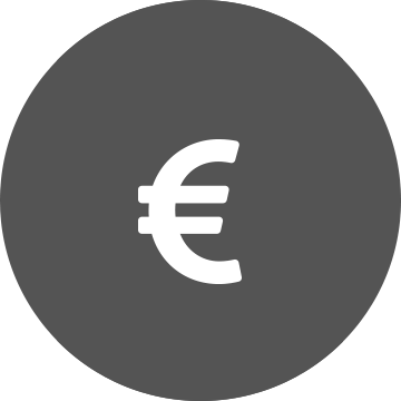 Simbol euro alb cu cerc gri pe fundal