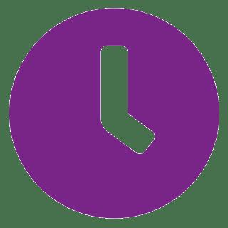 Pictograma ceas violet cu fundal transparent