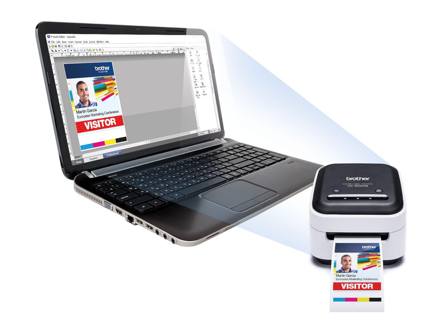 Imprimanta color VC-500W si software-ul P-touch pe unlaptop