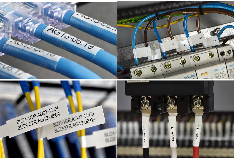 Patru imagini cu diferite etichete Brother și tub termocontractabil utilizate pentru identificarea cablurilor