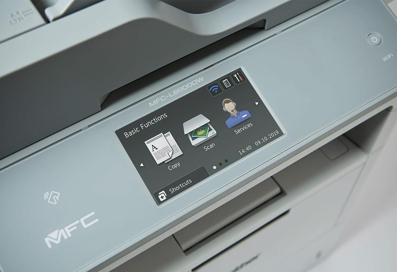 Ecran tactil pe echipament Brother cu trei pictograme