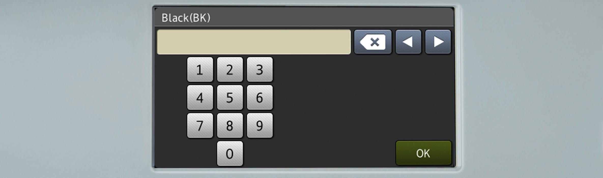 Ecran tactil pe imprimanta Brother cu tastatura numerica