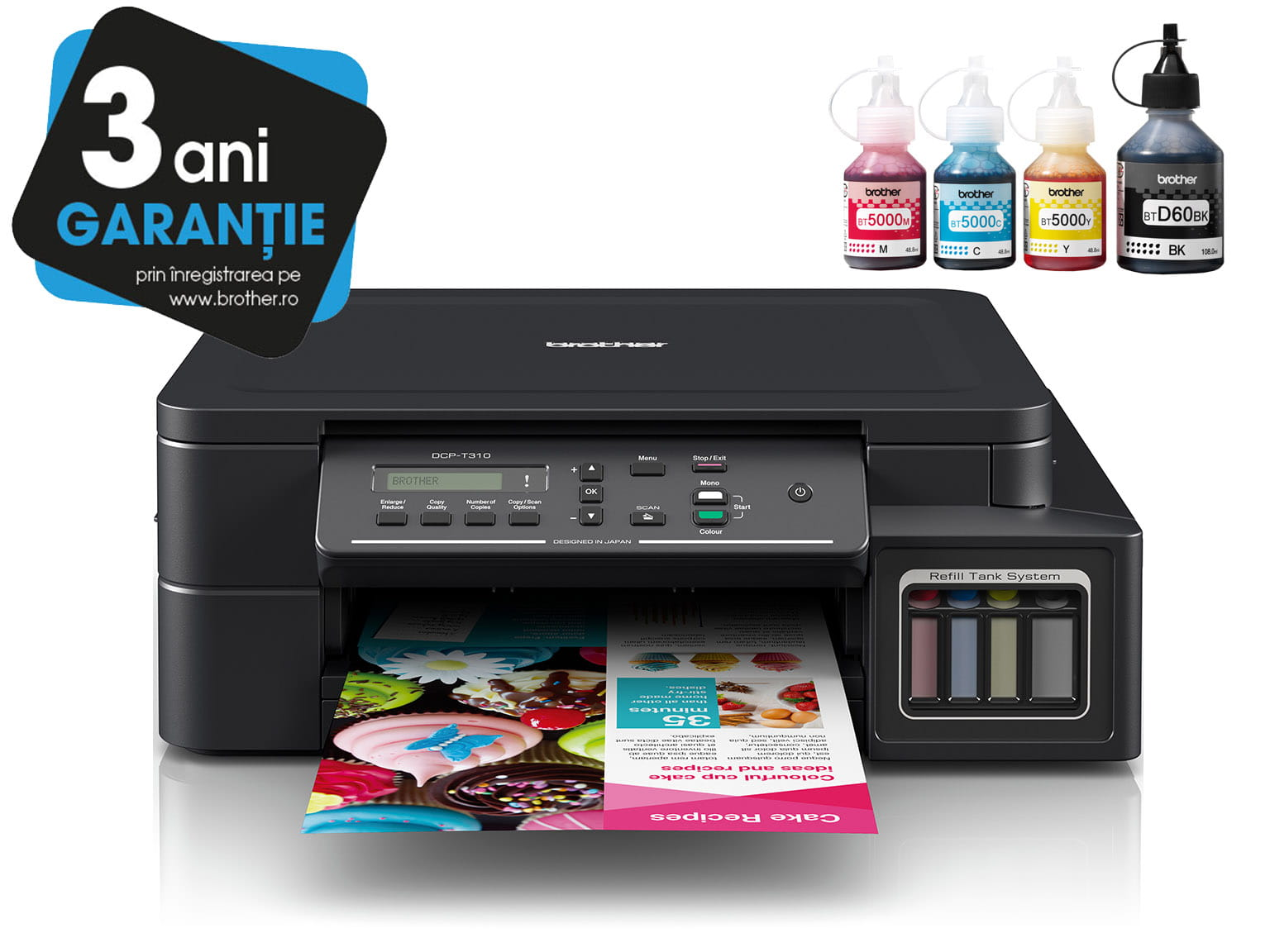 Brother InkBenefit Plus Inkjet Printer DCP-T310 with 3 Years Warranty Logotype and Ink Bottles