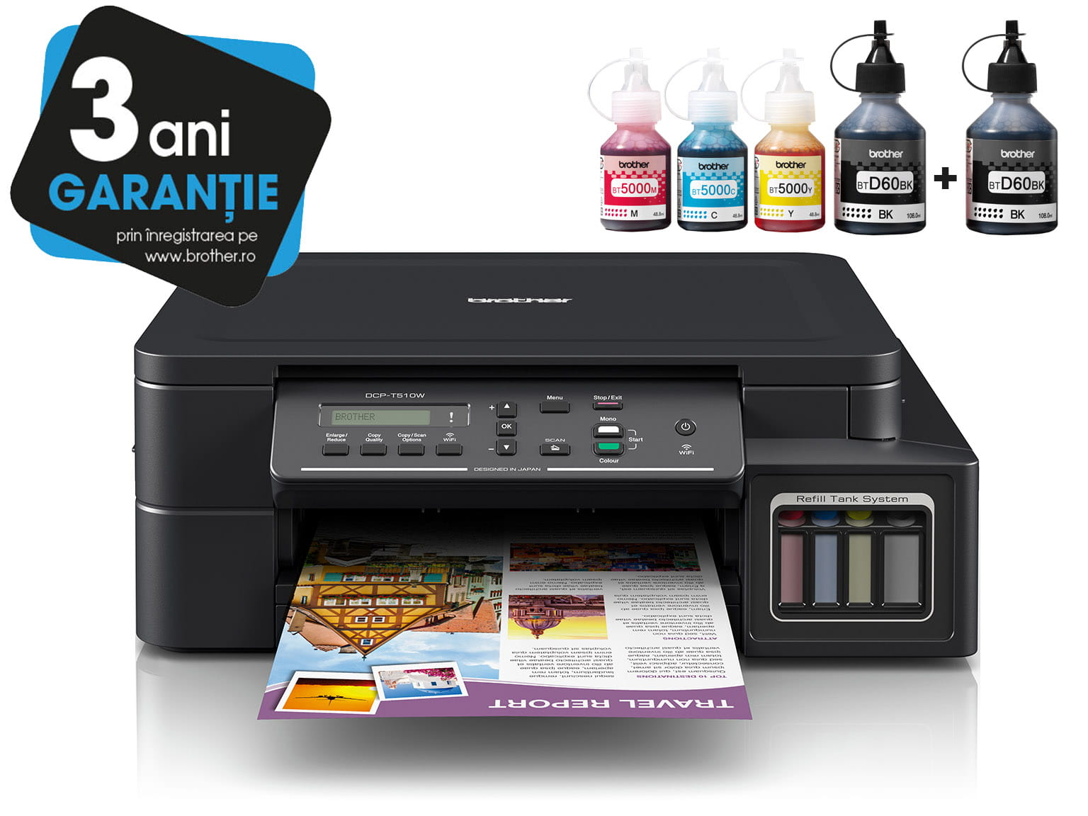 Brother InkBenefit Plus Inkjet Printer DCP-T510W with 3 Years Warranty Logotype and Ink Bottles