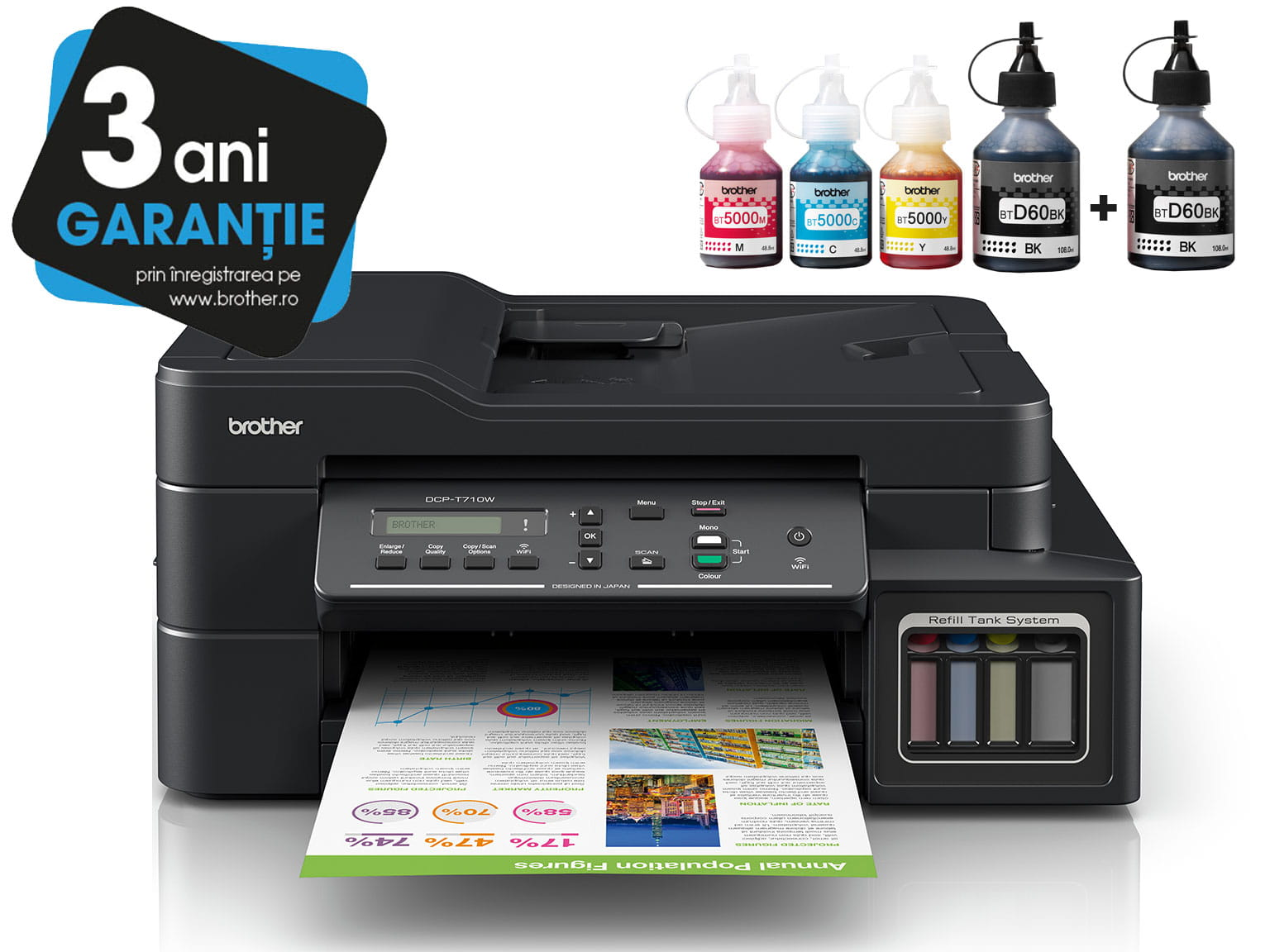 Brother InkBenefit Plus inkjet printer DCP-T710W with 3YW logotype and ink bottles