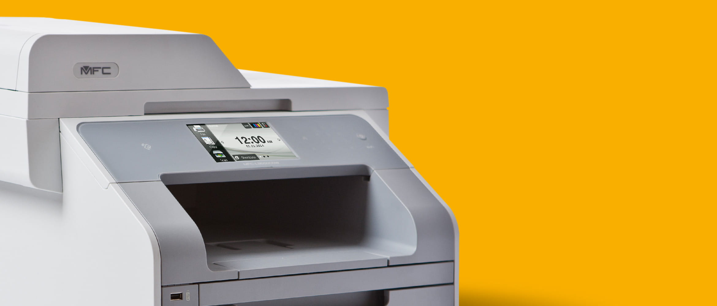 Genuine Brother Colour Laser Printer on yellow background