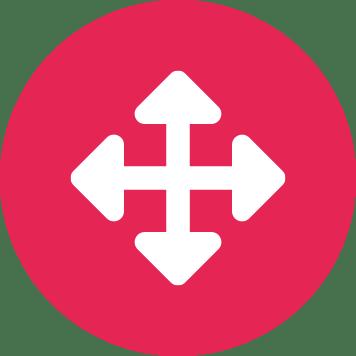 Săgeți indicând direcțiile pe un cerc roșu