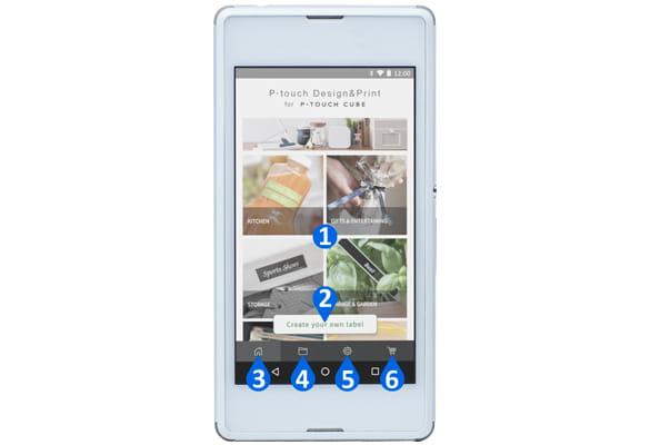 Smartphone Android cu funcțiile principale din aplicația P-touch Design&Print