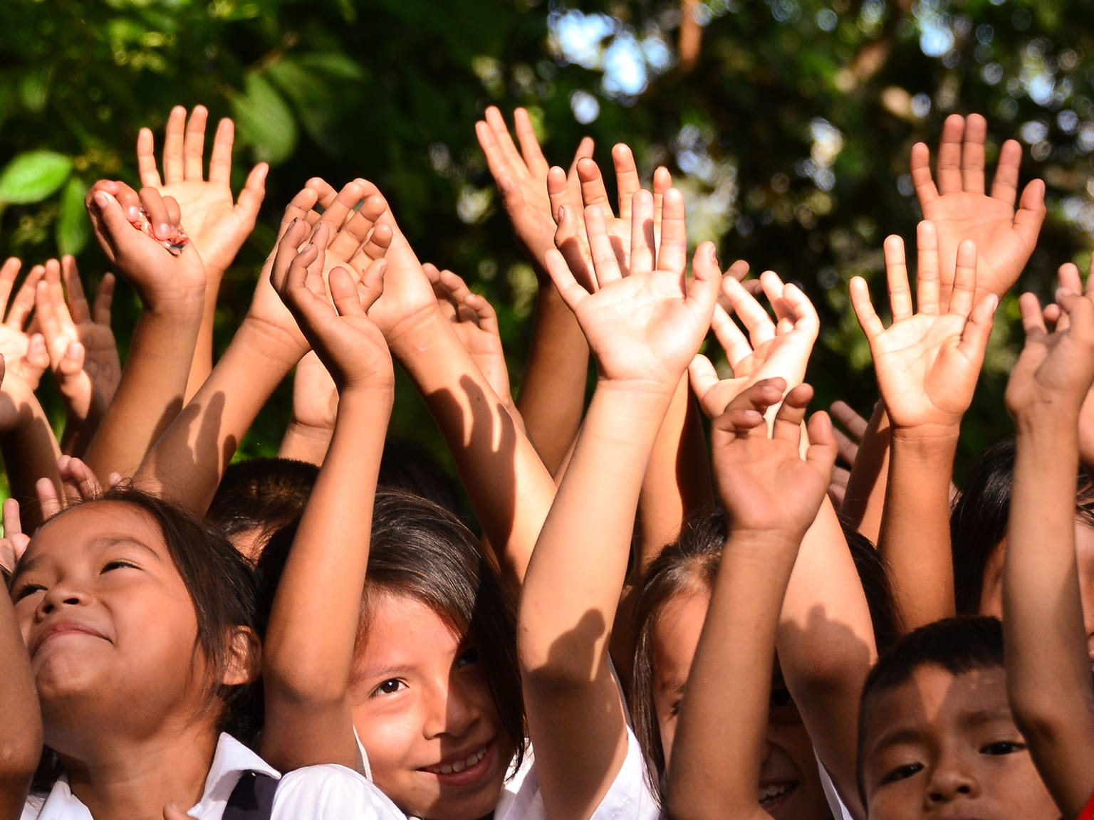Brother Earth copii cu mâinile ridicate