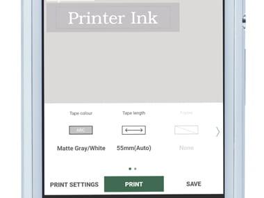 Aplicația P-touch Design&Print pe smartphone, afișând imprimarea unei etichete