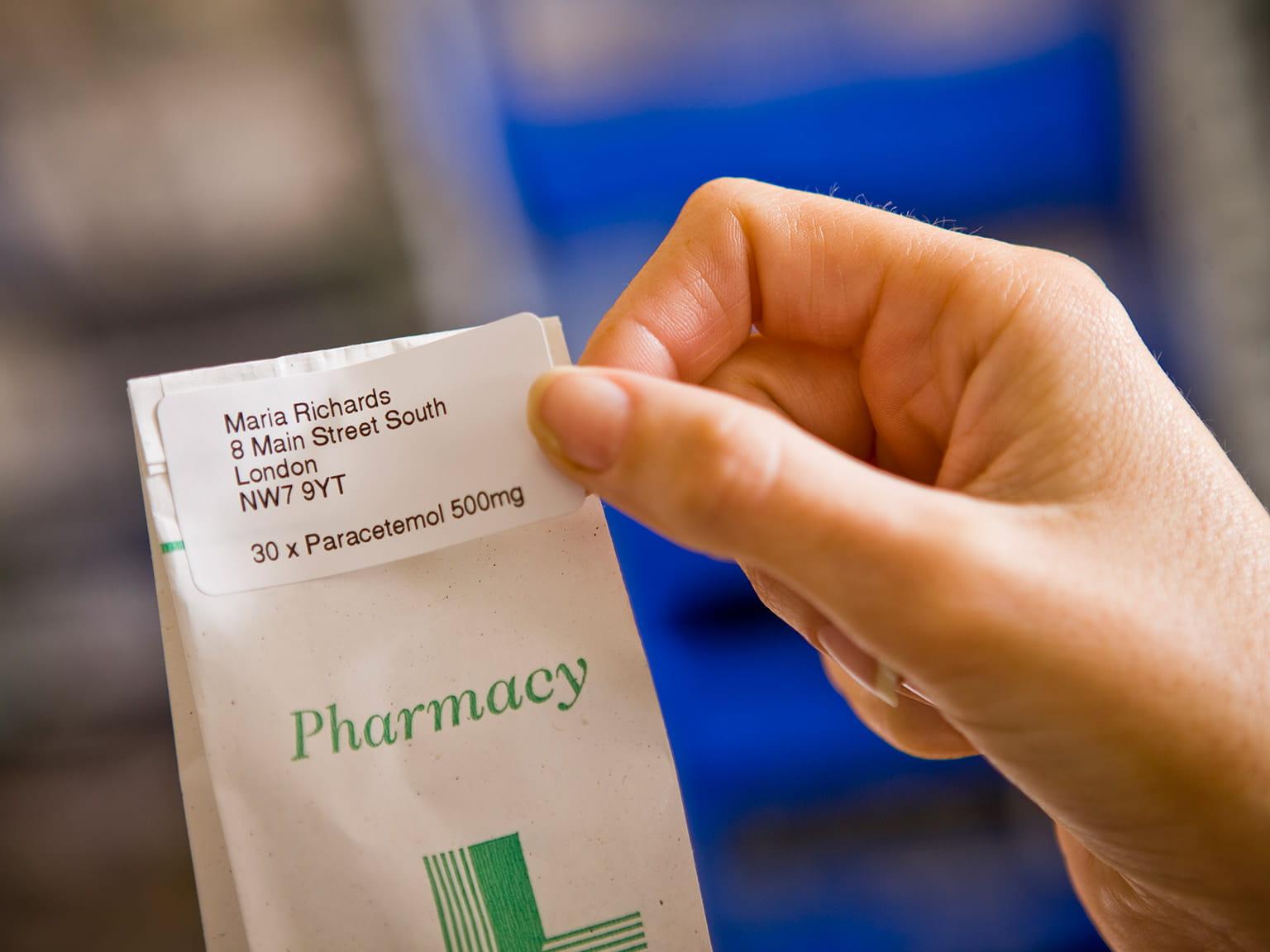 Etichetă pungă cu medicamente