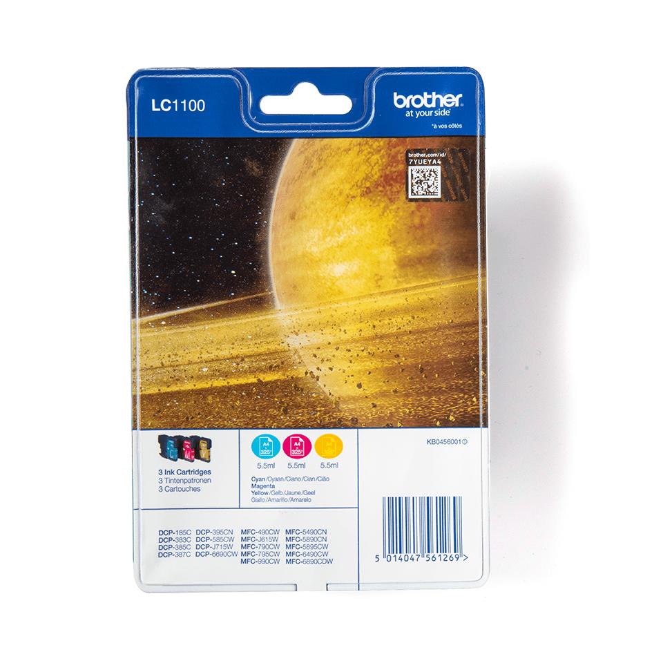 Set de cartușe de cerneală originale Brother LC1100RBWBP cyan / magenta / galben.