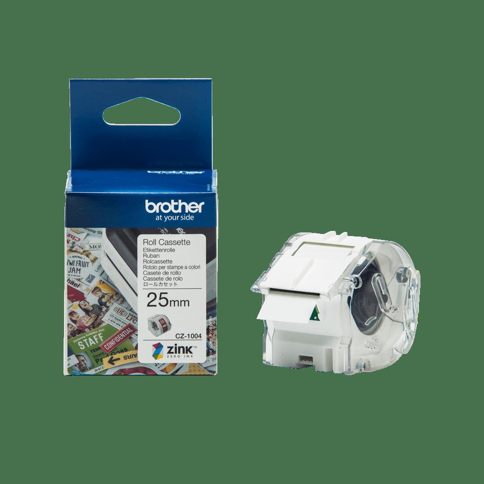 Rolă de etichete color continuă originală Brother CZ-1004, 25mm lățime