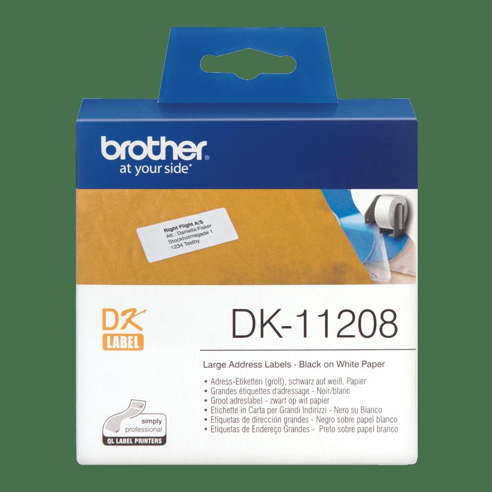 Rolă de etichete originală Brother DK-11208 – negru pe alb, 38mm x 90mm
