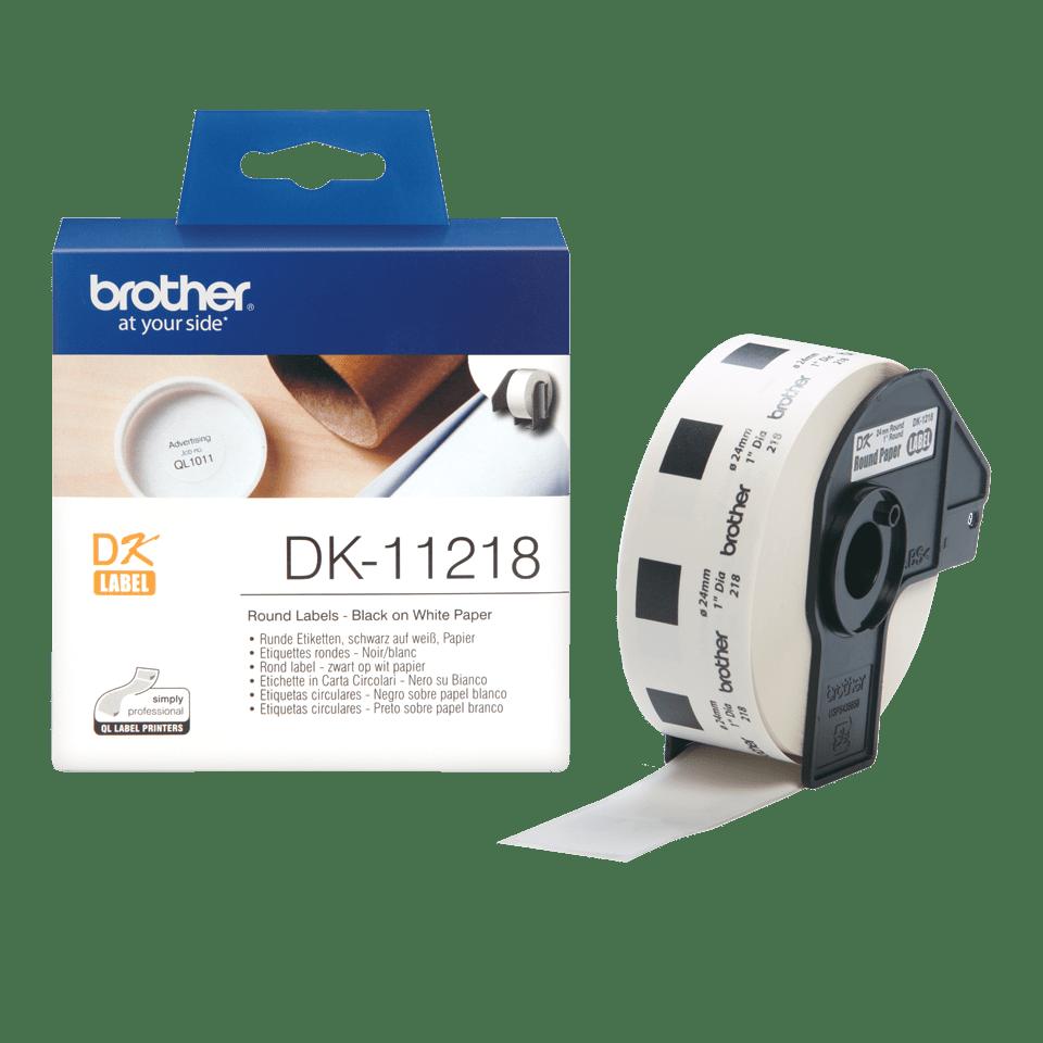 Rolă de etichete rotunde originală Brother DK-11218 – negru pe alb, diametru de 24mm 3