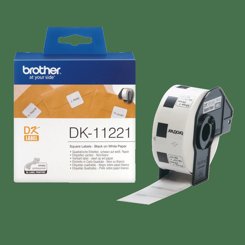 Rolă de etichete originală Brother DK-11221 – negru pe alb, 23mm x 23mm 3