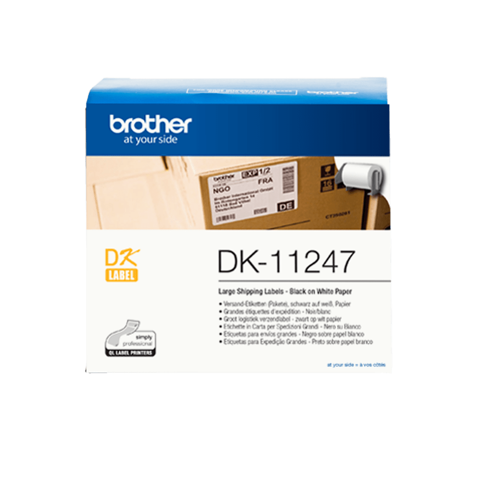 Rolă de etichete originală Brother DK-11247 – negru pe alb, 103mm x 164mm