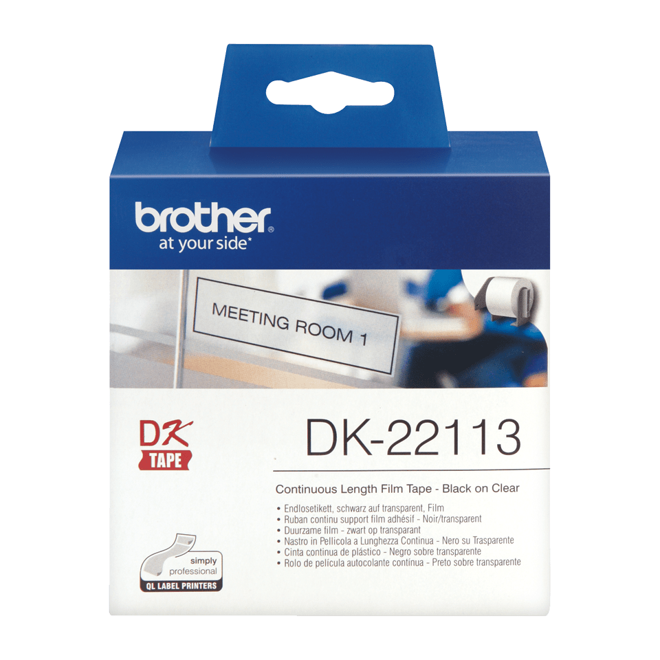 Rolă continuă de film originală Brother DK-22113 – negru pe transparent, lățimea de 62mm. 2