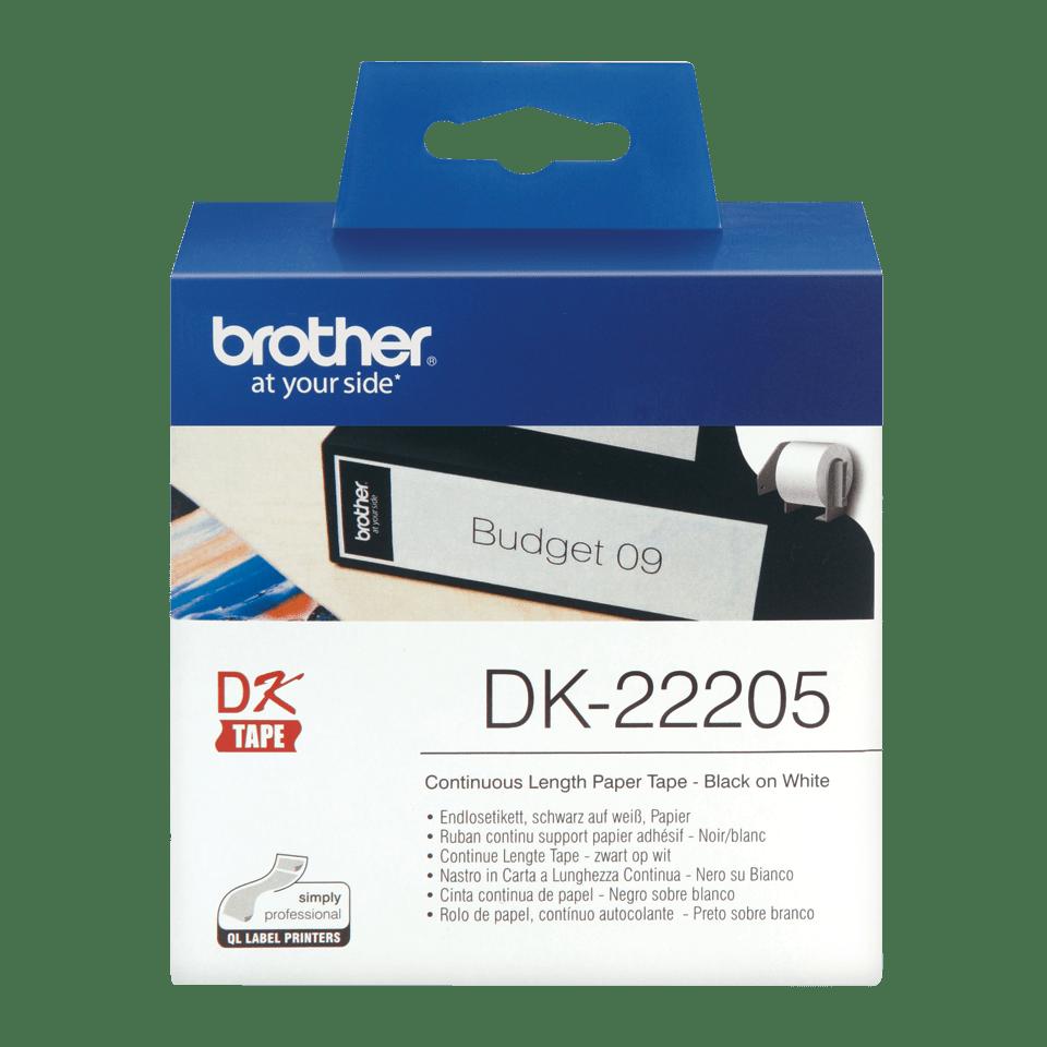 Rolă de etichete originală Brother DK-22205 de lungime continuă – negru pe alb, 62mm lățime
