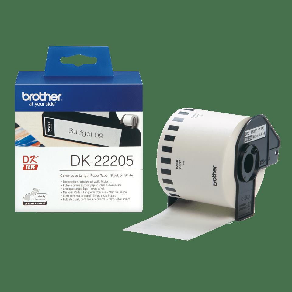 Rolă de etichete originală Brother DK-22205 de lungime continuă – negru pe alb, 62mm lățime 3