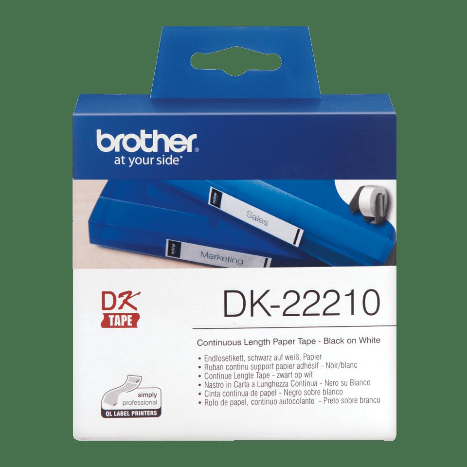 Rolă de etichete originală Brother DK-22210 – negru pe alb, lățime de 29mm