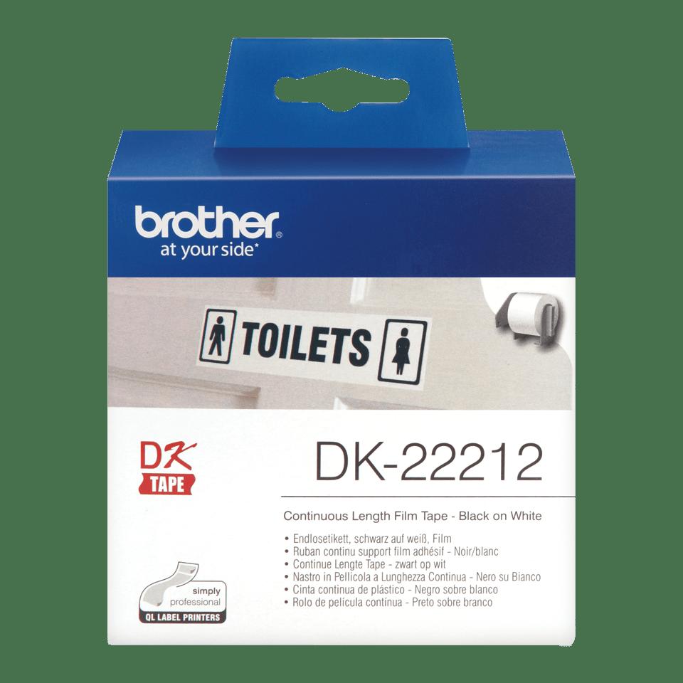 Rolă continuă de film originală Brother DK-22212 – negru pe alb, lățime de 62mm