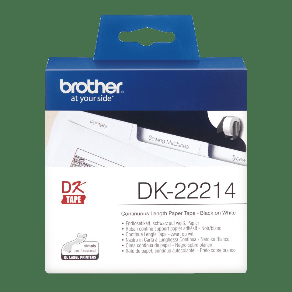 Rolă de hârtie continuă originală Brother DK-22214 – negru pe alb, lățime de 12mm