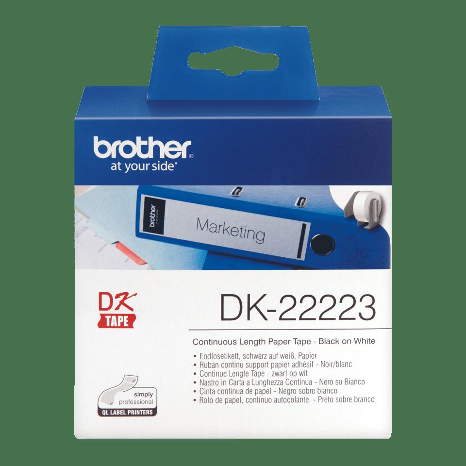 Rolă de etichete continuă originală Brother DK-22223 – negru pe alb, lățime de 50mm