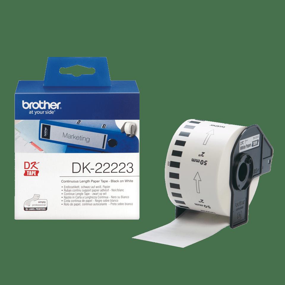 Rolă de etichete continuă originală Brother DK-22223 – negru pe alb, lățime de 50mm 3