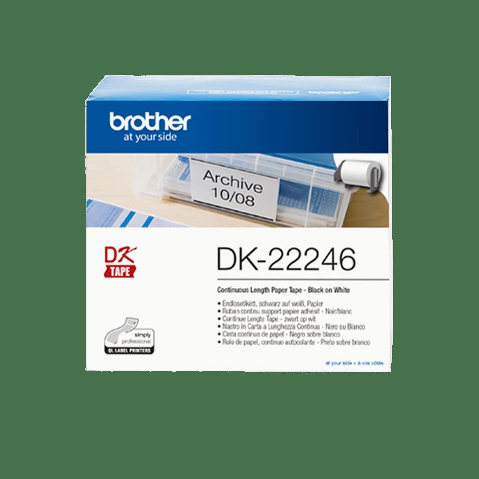 Rolă continuă de hârtie pentru etichete originală Brother DK-22246 – negru pe alb, lățime de 103mm