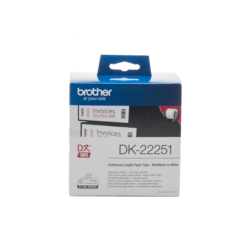 Rolă de hârtie continuă originală Brother DK-22251 – negru și roșu pe alb, lățime de 62mm