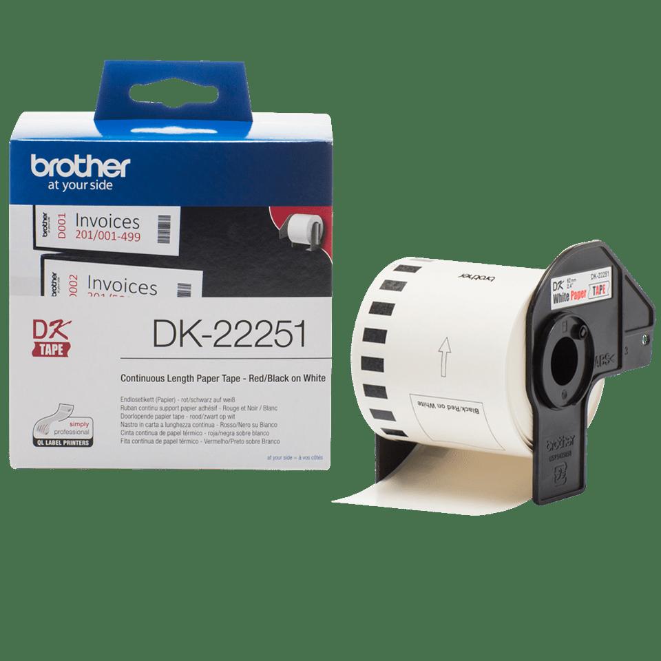 Rolă de hârtie continuă originală Brother DK-22251 – negru și roșu pe alb, lățime de 62mm 3