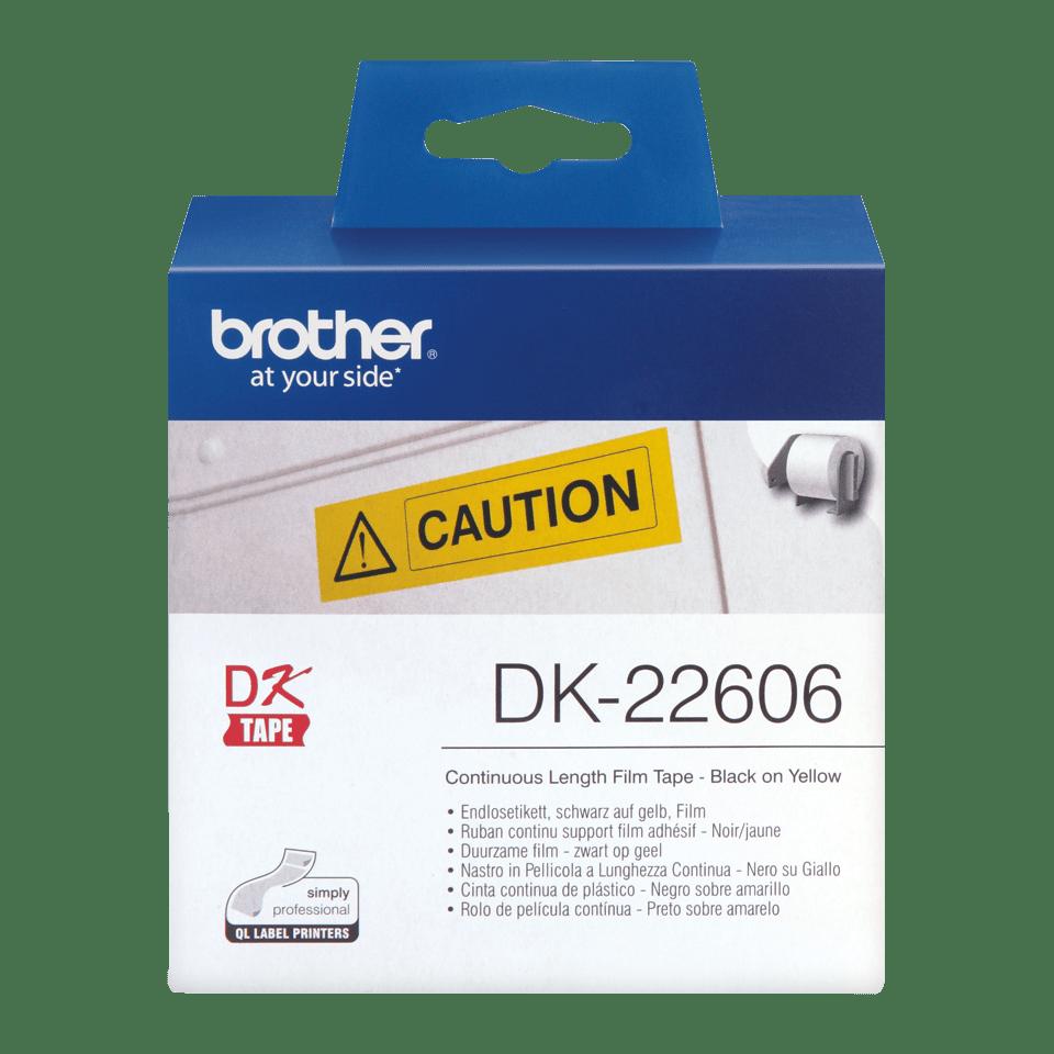 Rolă continuă de film originală Brother DK-22606 – negru pe galben, lățimea de 62mm 2