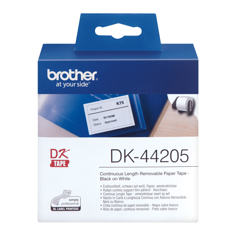 Rolă continuă de etichete detașabile originală Brother DK-44205 – negru pe alb, lățime de 62mm
