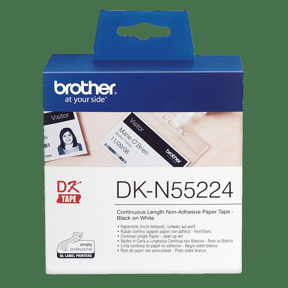 Rolă de hârtie continuă neadezivă originală Brother DK-N55224 – negru pe alb, lățimea de 54mm