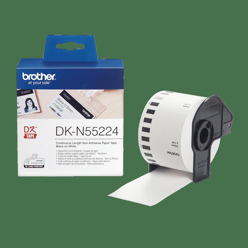 Rolă de hârtie continuă neadezivă originală Brother DK-N55224 – negru pe alb, lățimea de 54mm 3
