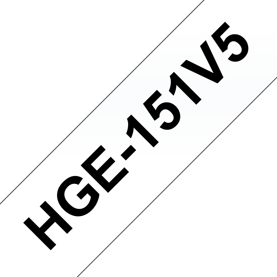 Casetă cu bandă de etichete originală Brother HGe-151V5 – negru pe transparent, lățime de 24mm