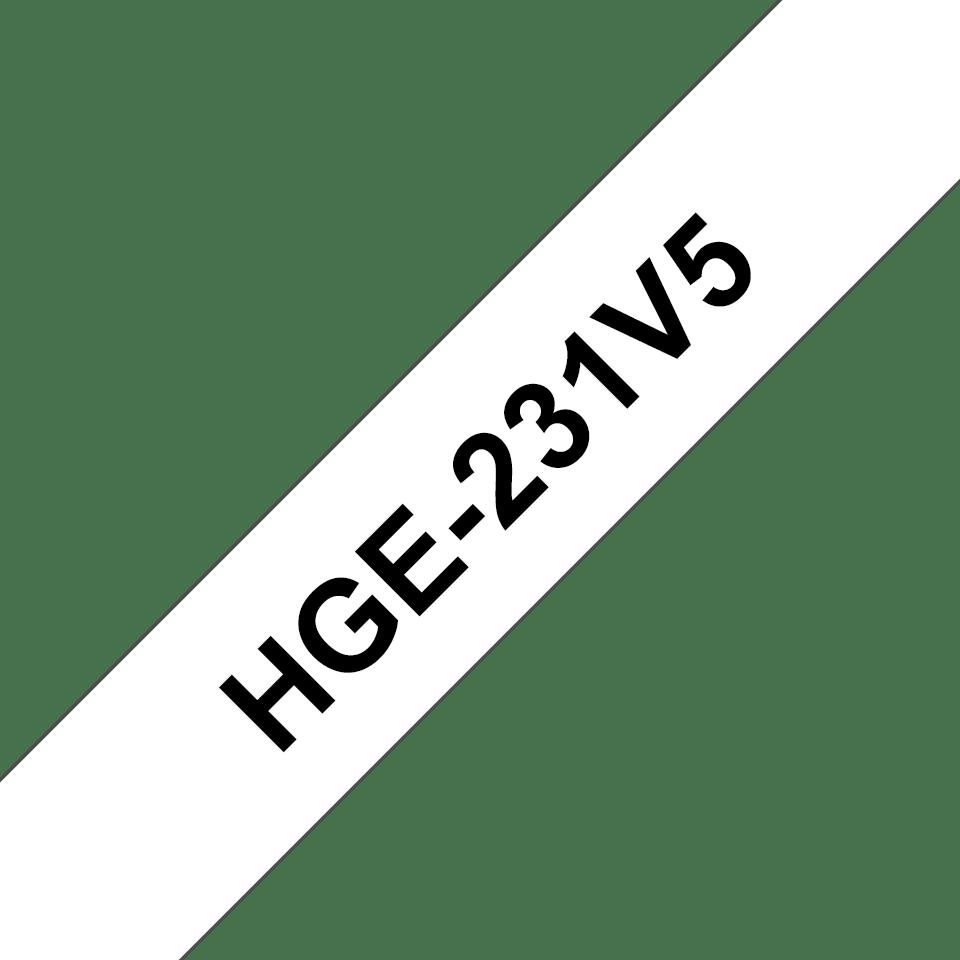 Casetă cu bandă originlă Brother HGe-231V5 – negru pe alb, lățime de 12mm