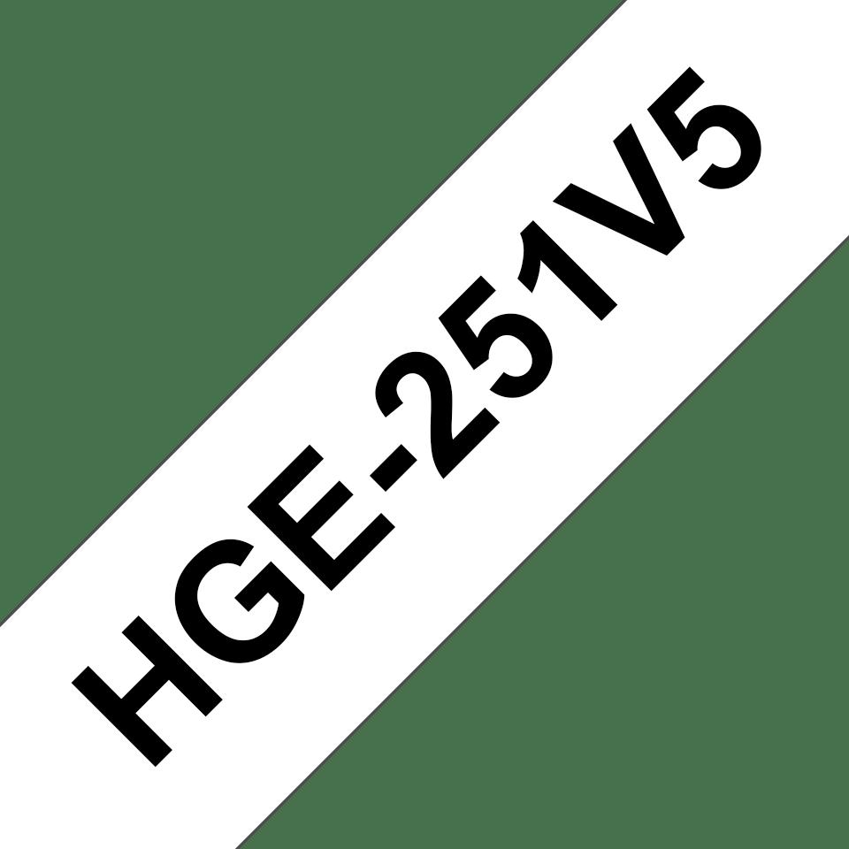 Casetă cu bandă de etichete originală Brother HGe-251V5 – negru pe alb, lățime de 24mm