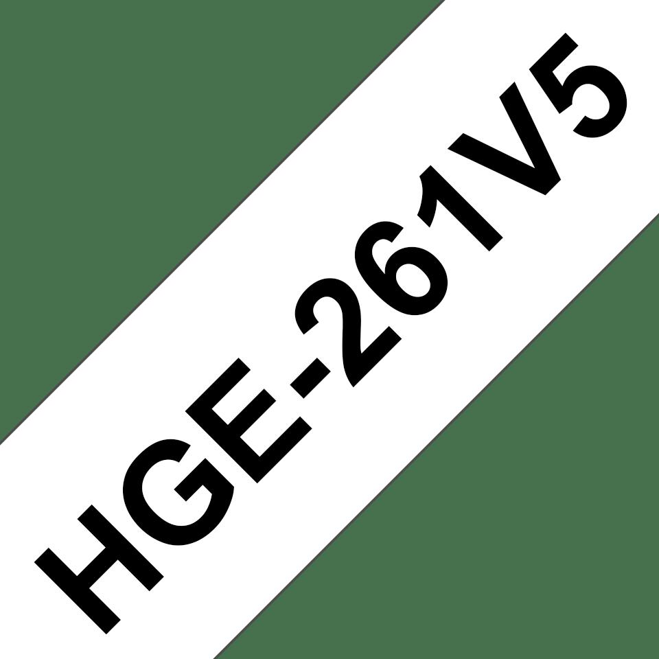 Casetă cu bandă de etichete originală Brother HGe-261V5 – negru pe alb, lățime de 36mm