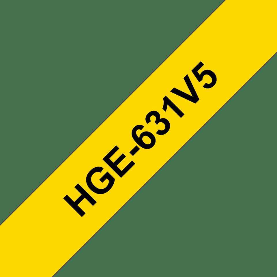 Casetă cu bandă de etichete originală Brother HGe-631V5 – negru pe galben, lățime de 12mm