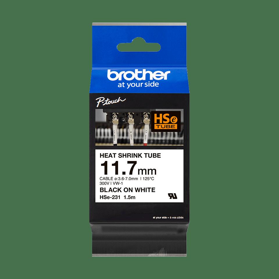 Casetă cu bandă termocontractabilă originală Brother HSe-231 – negru pe alb, lățime de 11,7mm 2