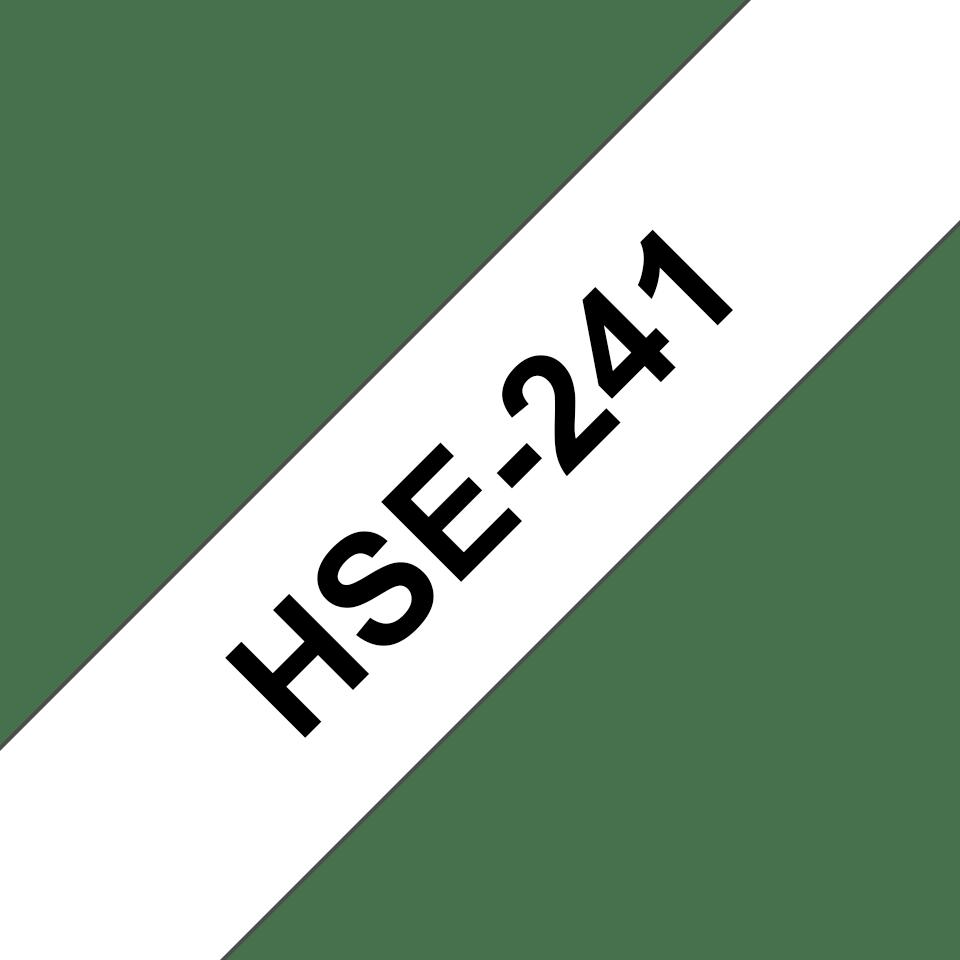 Casetă cu bandă de etichete termocontractabilă originală Brother HSe-241 – negru pe alb, lățime de 17,7mm 3