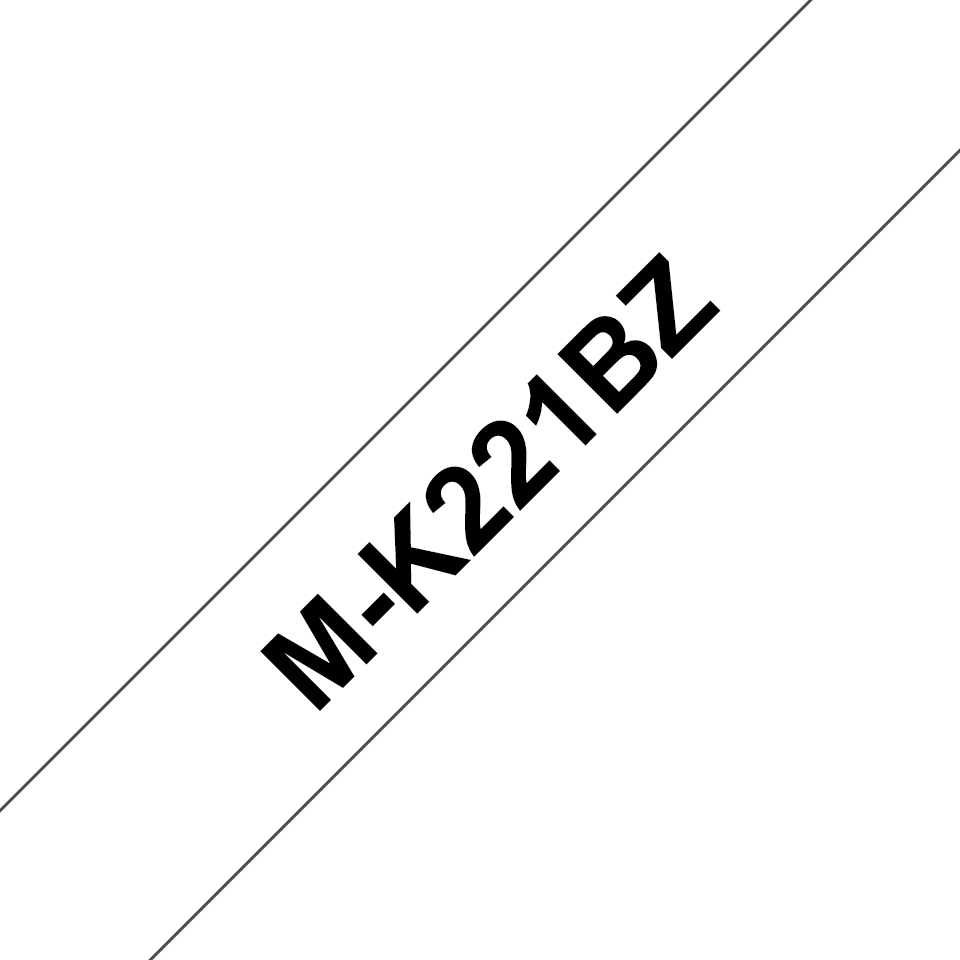 Casetă cu bandă de etichete originală Brother M-K221BZ – negru pe alb, lățime de 9mm
