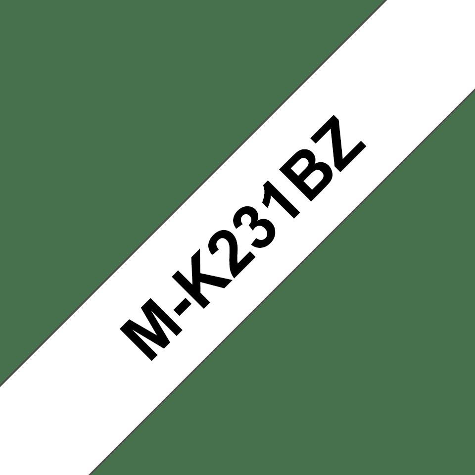 Casetă cu bandă de etichete originală Brother MK231SBZ – negru pe alb de 12mm lățime