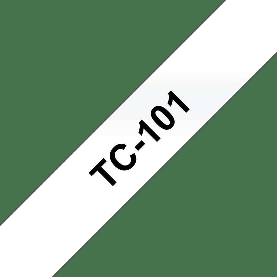 Casetă cu bandă de etichete originală Brother TC-101 – negru pe transparent de 12mm lățime