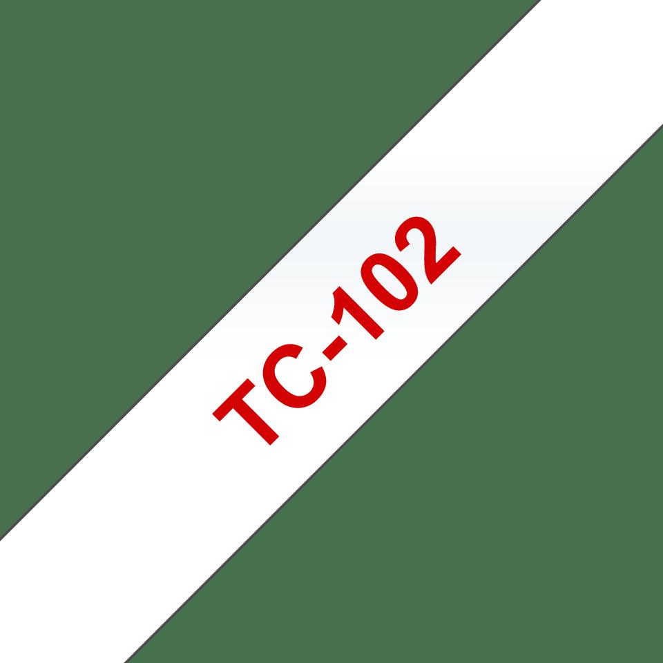 Casetă cu bandă de etichete originală Brother TC-102 – roșu pe transparent de 12 mm lățime