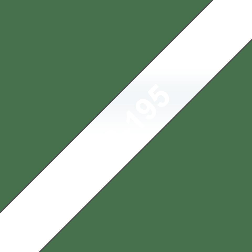 Casetă cu bandă de etichete originală Brother TC195 – alb pe transparent de 9mm lățime