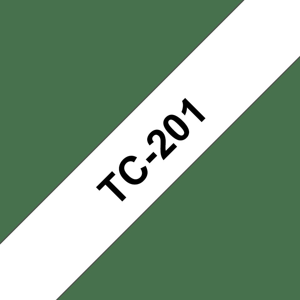 Casetă cu bandă de etichete originală Brother TC201 – negru pe alb de 12 mm lățime